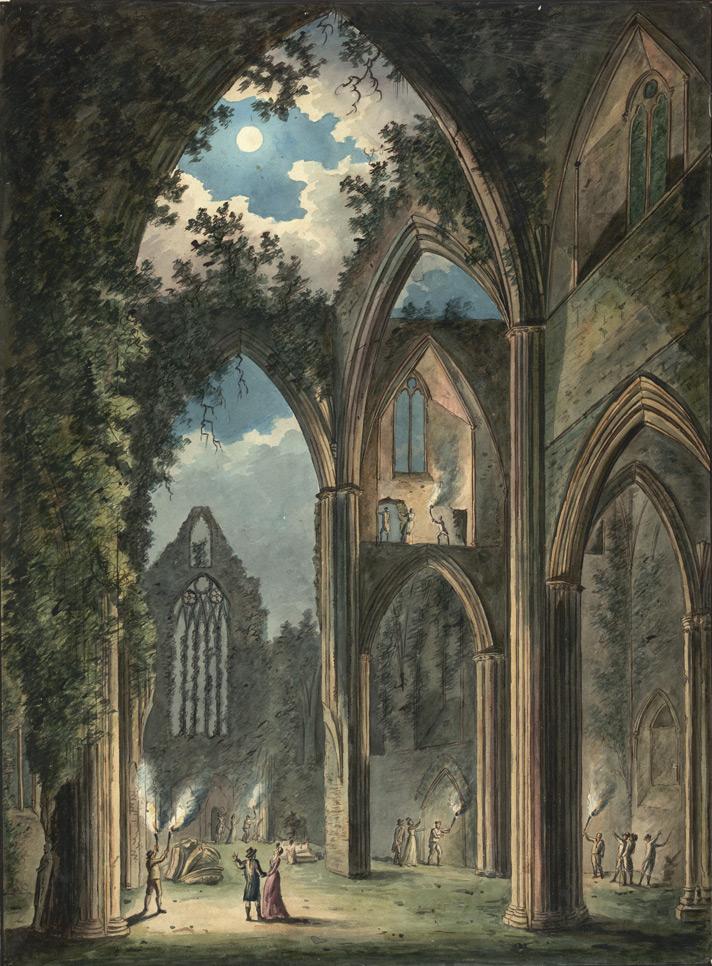 An internal view of the Tintern abbey seen by moonlight, South Wales